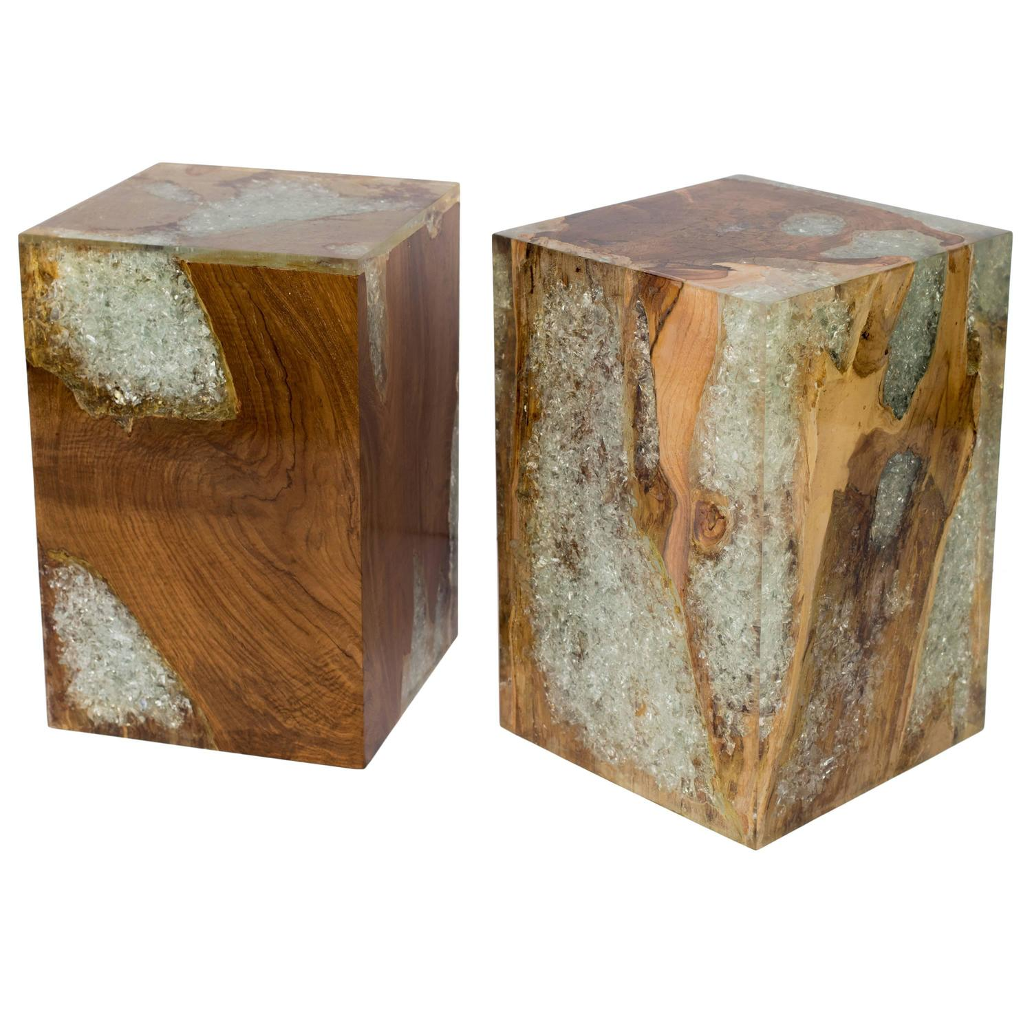 Wood Cube End Table Organic Teakwood And Cracked Resin Cube Tables For Sale At
