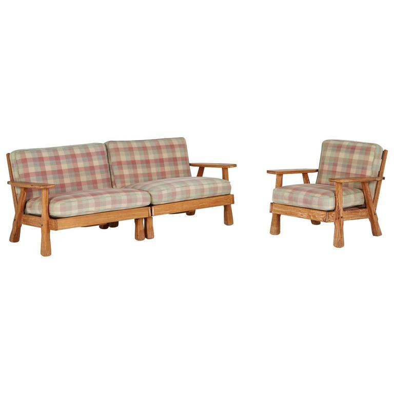 Otto Wagner Sofa A. Brandt Ranch Three-piece Textured Oak Seating Set