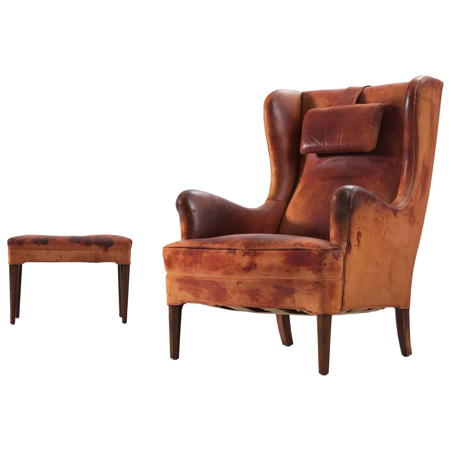 Frits Henningsen Wingback Chair And Ottoman In Original