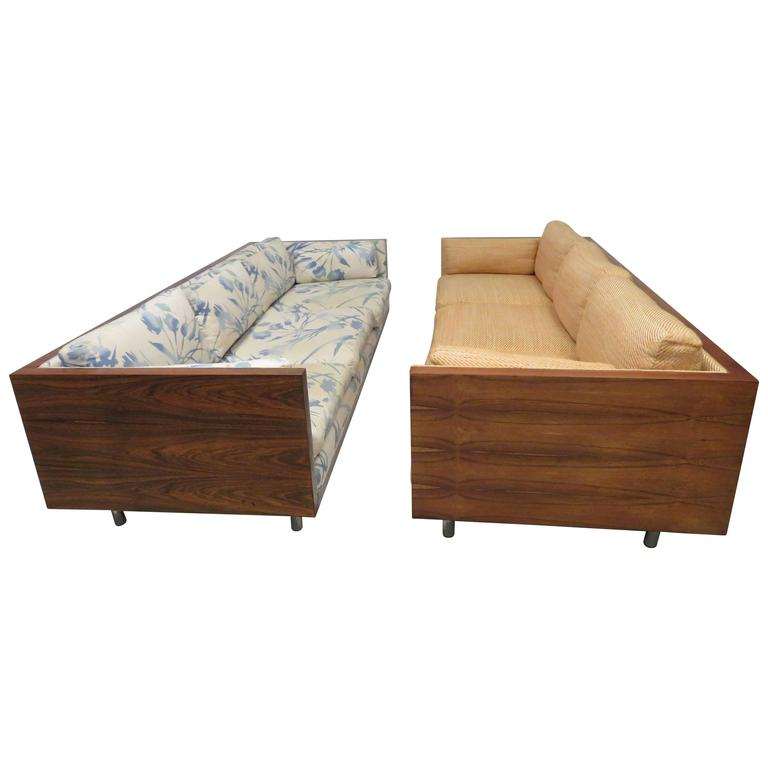 Gorgeous Pair of Milo Baughman Style Rosewood Case Sofas, Mid