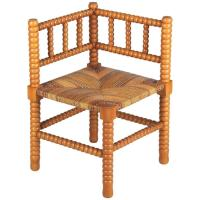 Country French Rush Seat Corner Chair, 1940s at 1stdibs
