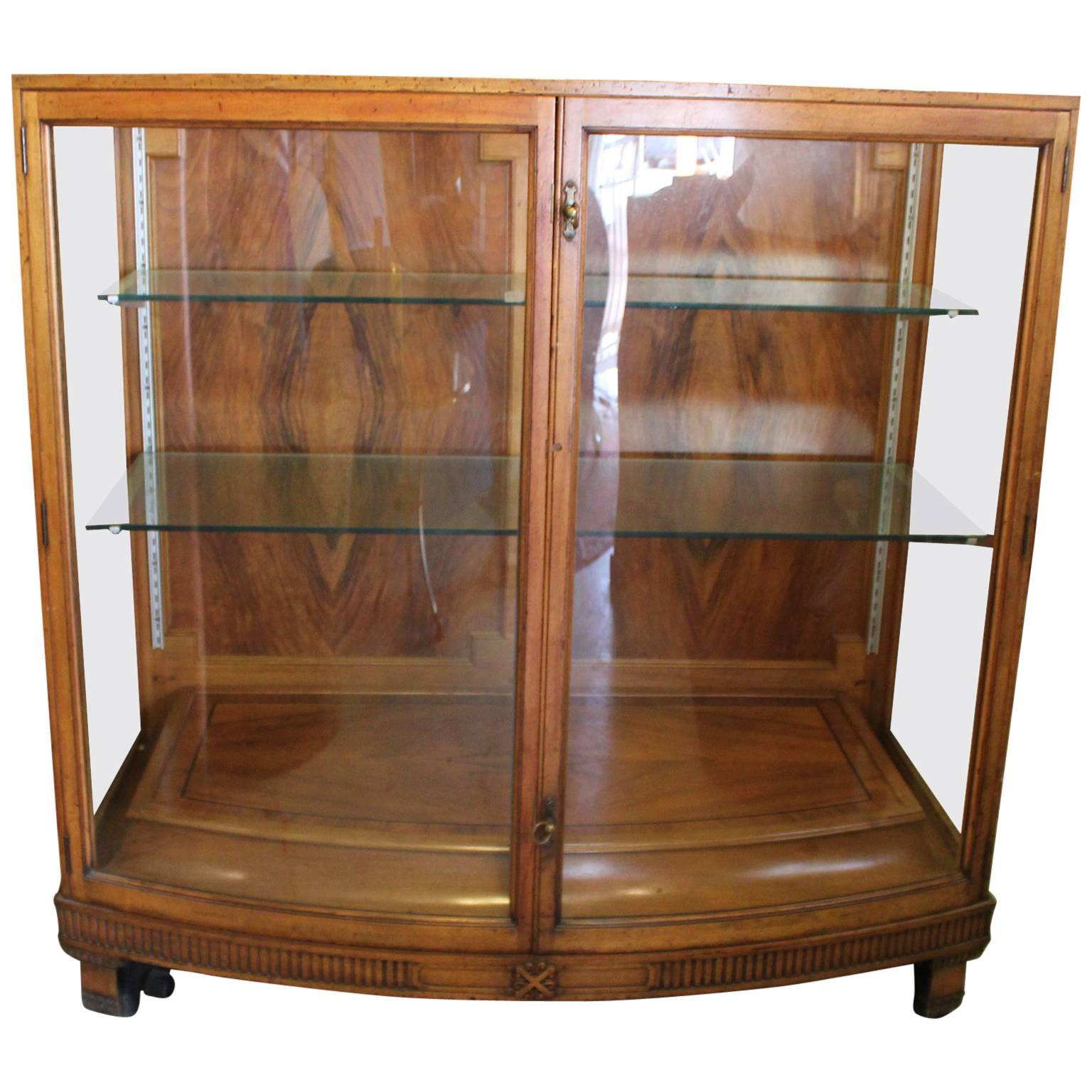 Vitrine Modern Modern French Regency Vitrine Or Display Case With Curved Glass And Walnut