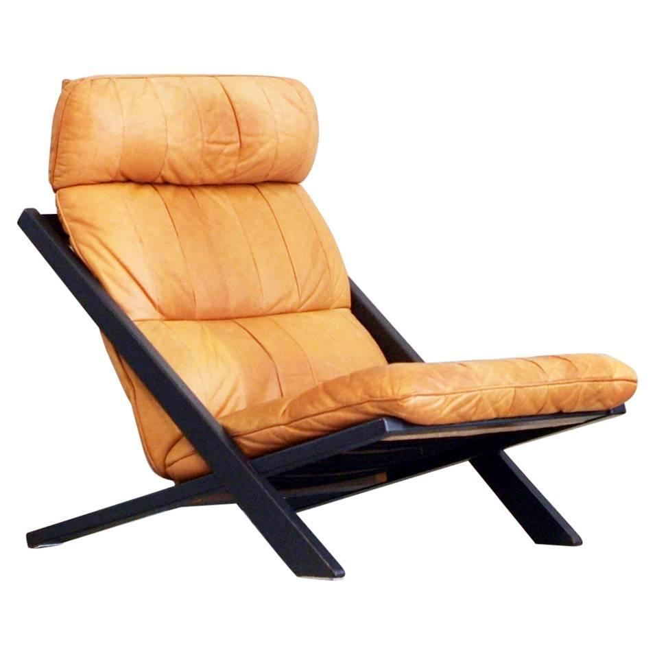 Rare De Sede Lounge Chair Uli Berger Cognac Leather 1970s - Leather High Back Lounge Chair