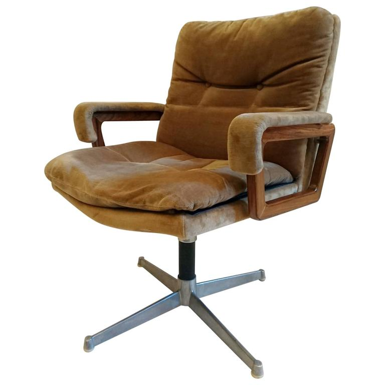 Italian Office Chair In Velvet And Teak At 1stdibs