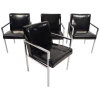 Set of Mid-Century Modern Vinyl and Chrome Dining Chairs ...