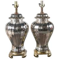 Pair of French Mercury Glass Ginger Jar Table Lamps For
