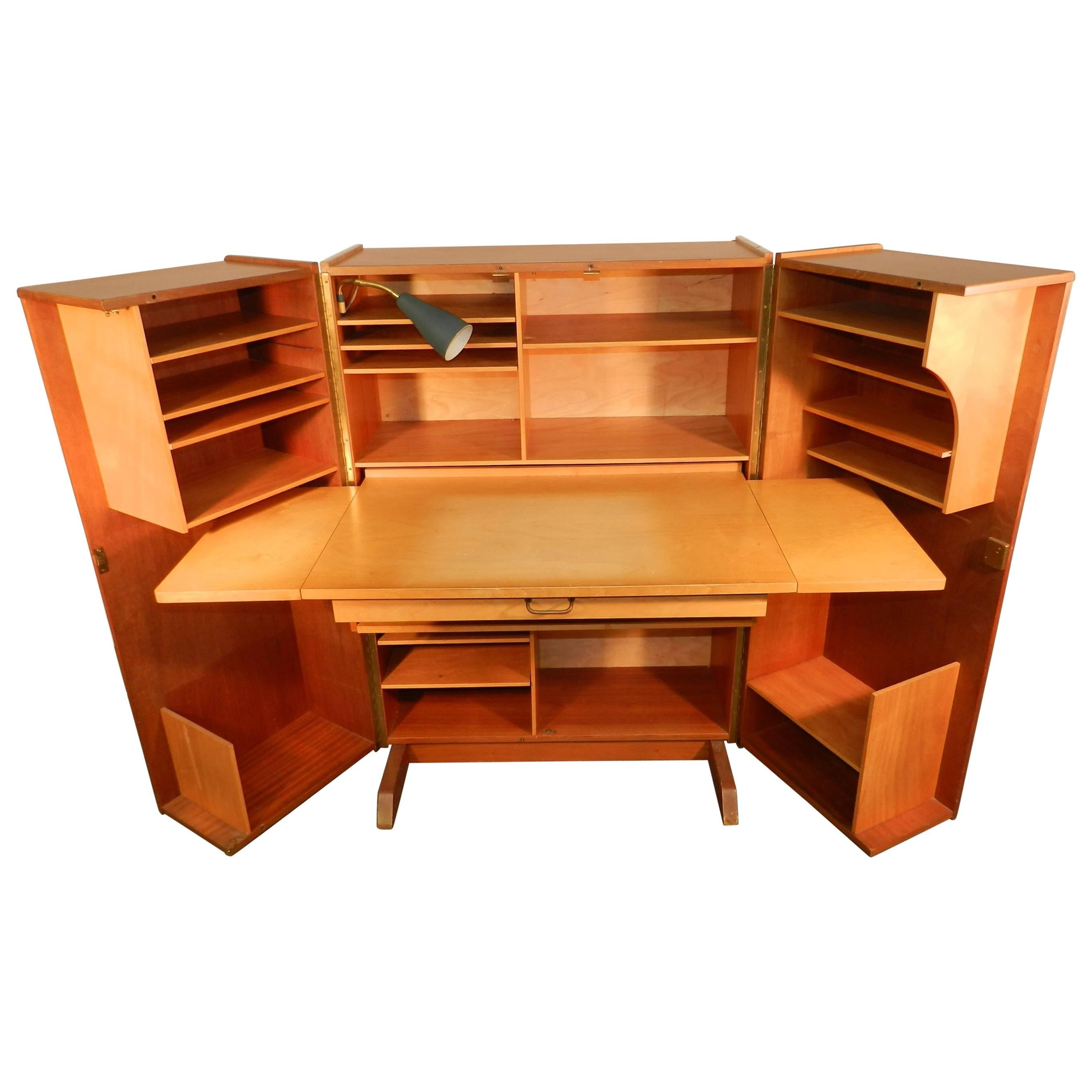 Mahogany Office Desk 1950 Compact Home Office Desk In Mahogany And Blond Wood