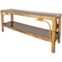 Bamboo Console Table with Two Tinted Glass Shelves and ...