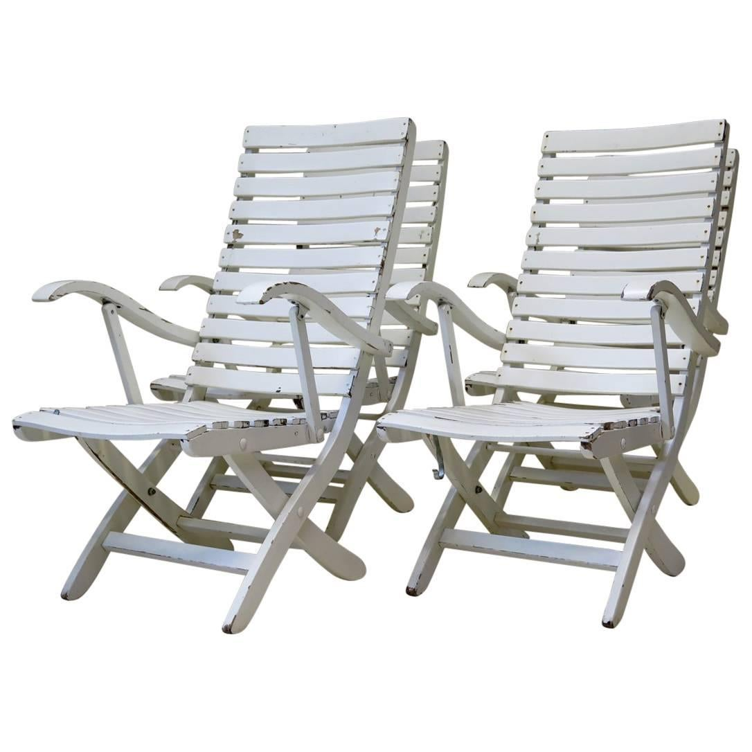 Folding Wooden Chairs Set Of Four Folding Wooden Deck Chairs France Circa 1950s