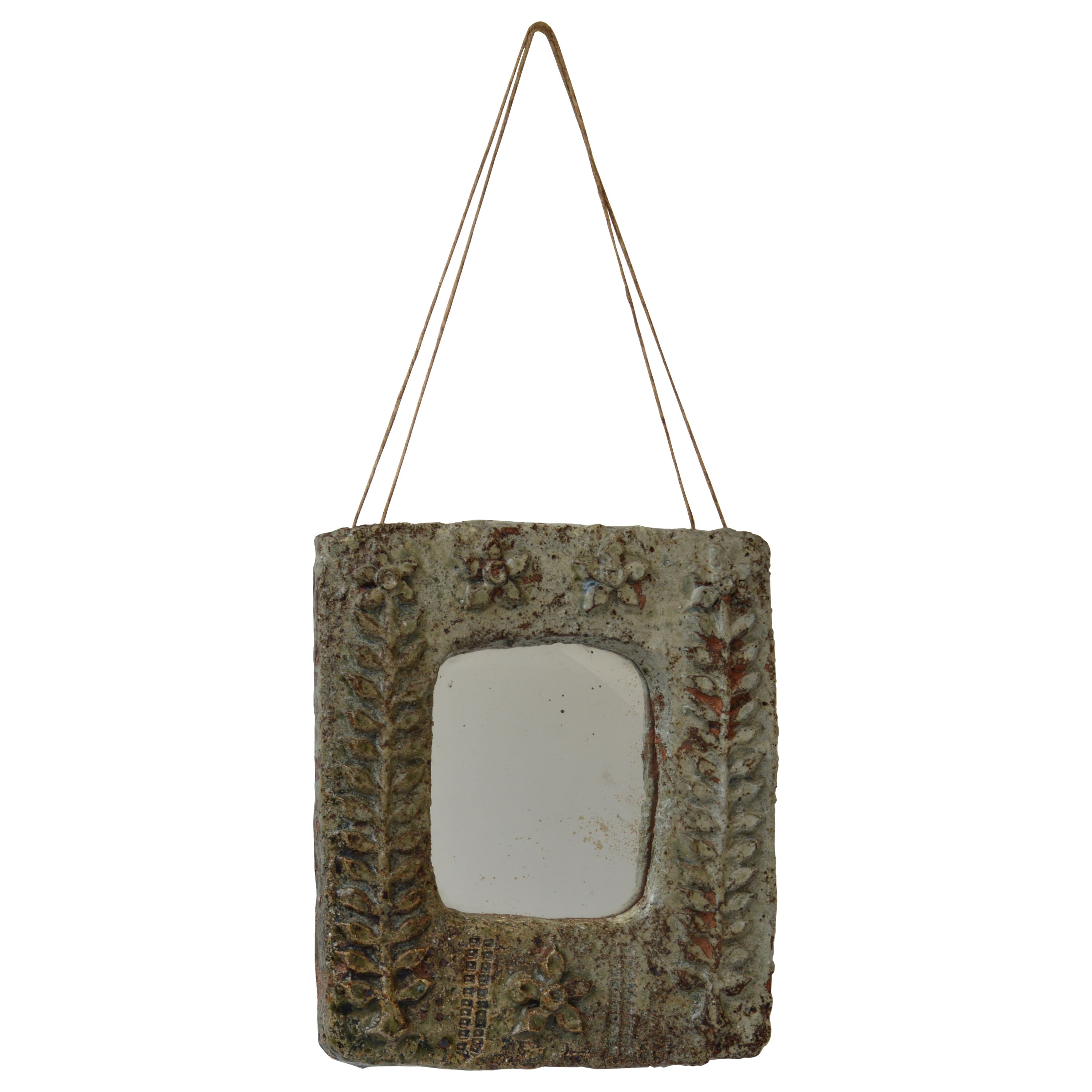 Motif Relief Vintage Ceramic Wall Mirror With Relief Botanical Motif