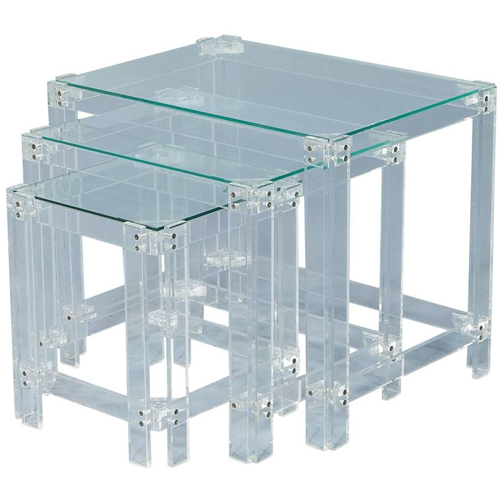 Glass Nesting Tables Set Of Vintage Lucite And Glass Nesting Tables