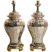 Pair of Mercury Glass Ginger Jar Lamps For Sale at 1stdibs