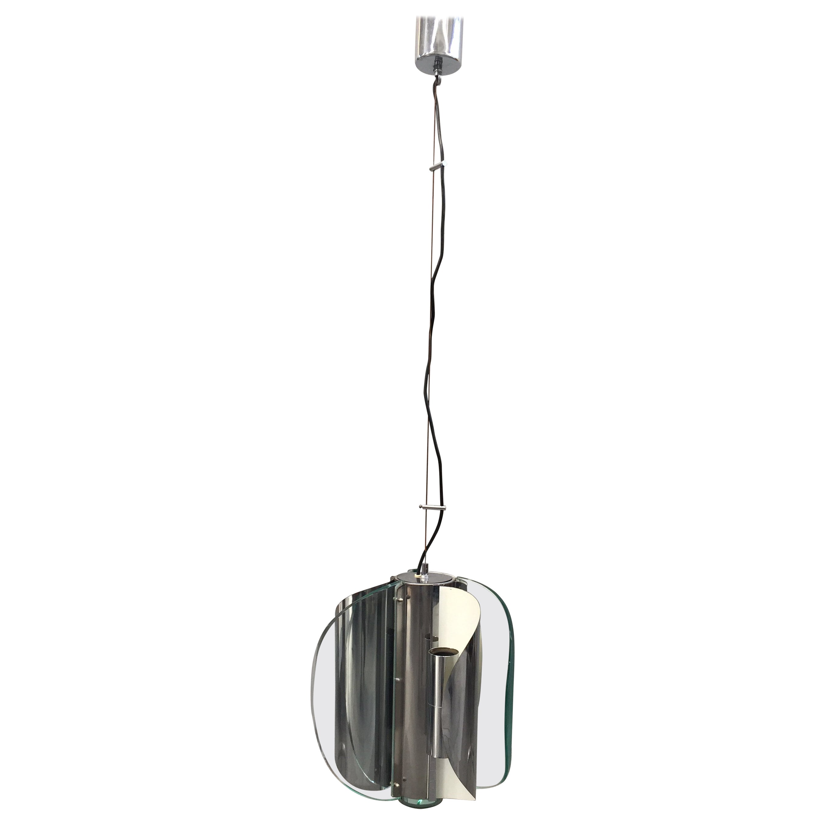 Fontana Arte Chrome And Glass Fixture By Fontana Arte