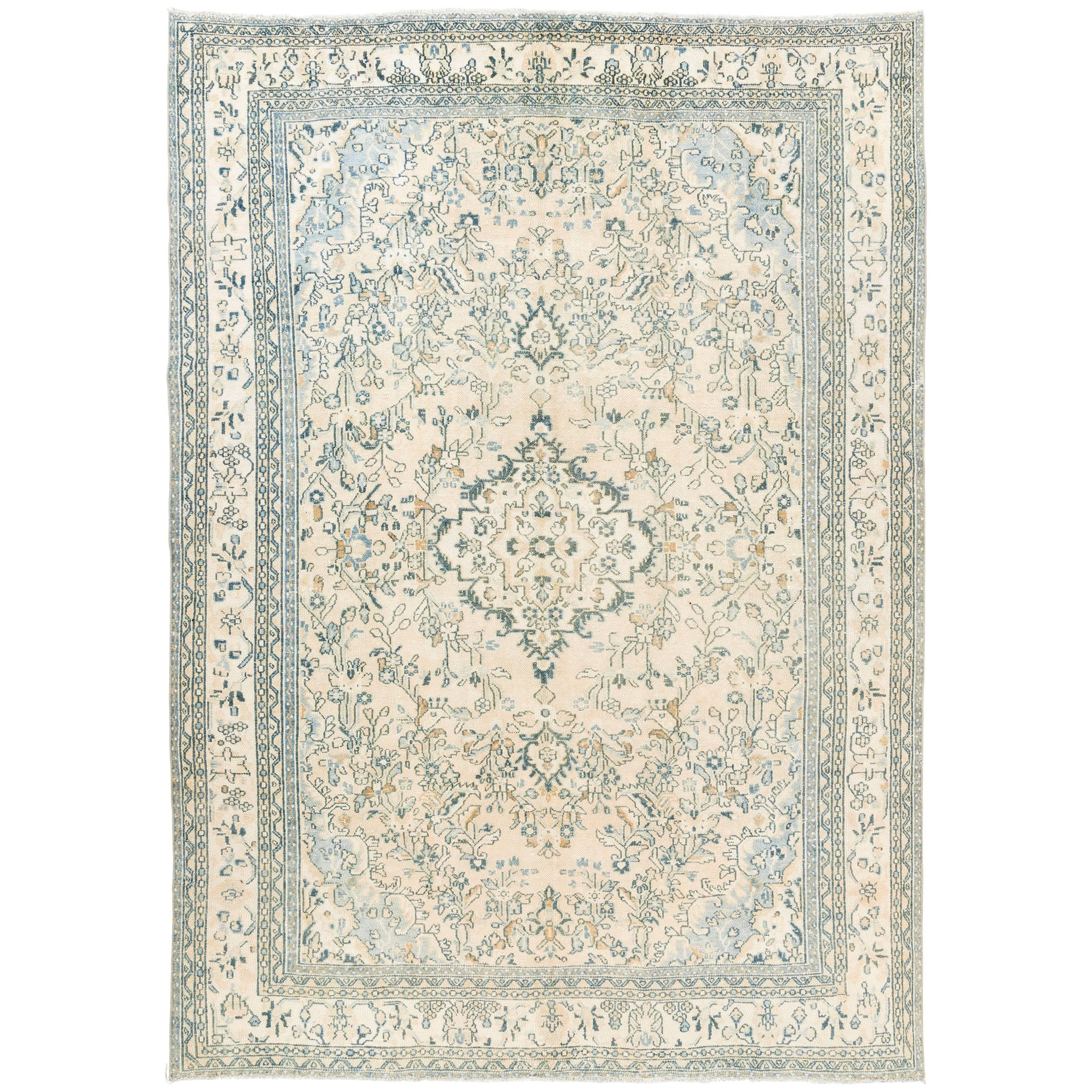 Teal Color Area Rugs Vintage Oushak Area Rug In Soft Aqua Blue Teal Rust And Cream Colors