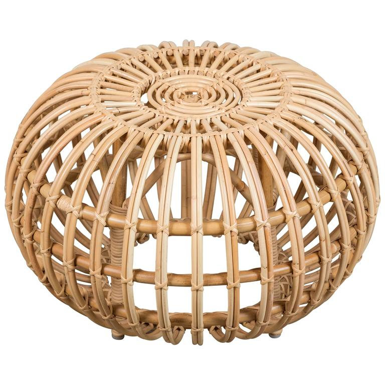 Rattan Pouf Large Rattan Ottoman By Franco Albini For Sale At 1stdibs