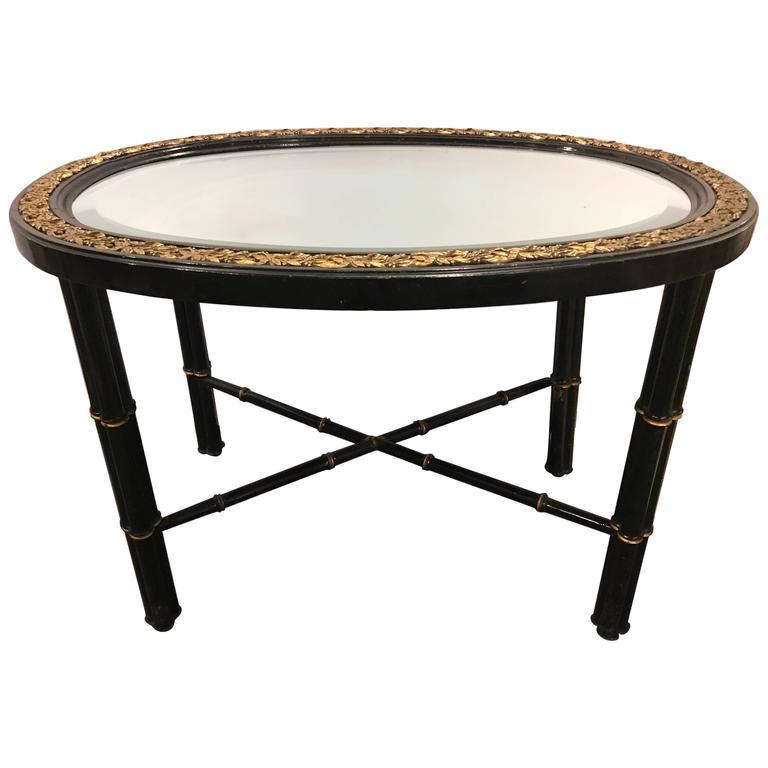 Hollywood Regency Beveled Mirror Top Black Oval Coffee