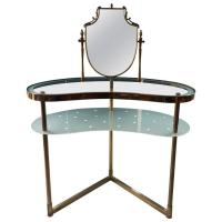 Italian Dressing Table and Chair, brass, circa 1950s For ...