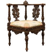 Antique Corner Armchair, Carved Victorian Chair, circa ...