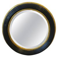 Midcentury Round Black and Gold Beveled Wall Mirror at 1stdibs