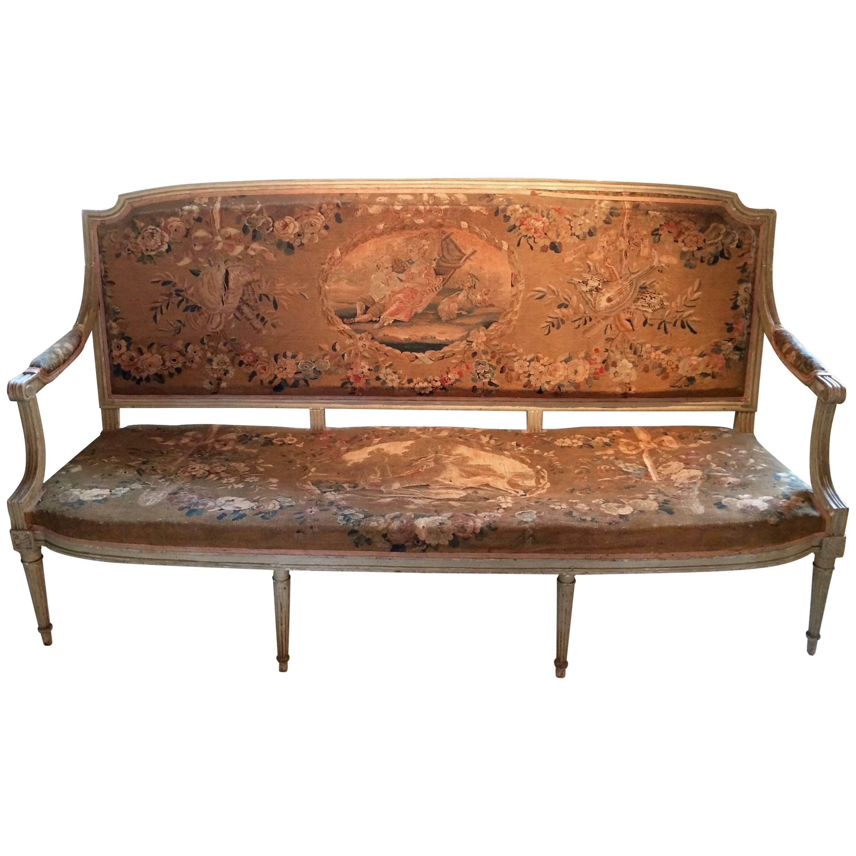 Canape Sofa Museum Quality Original Louis Xvi Tapestry And Painted Canape Sofa