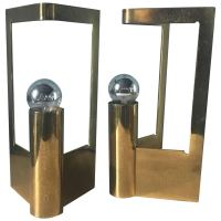Italian Pair of Table Lamps in Solid Brass from 1960s For ...