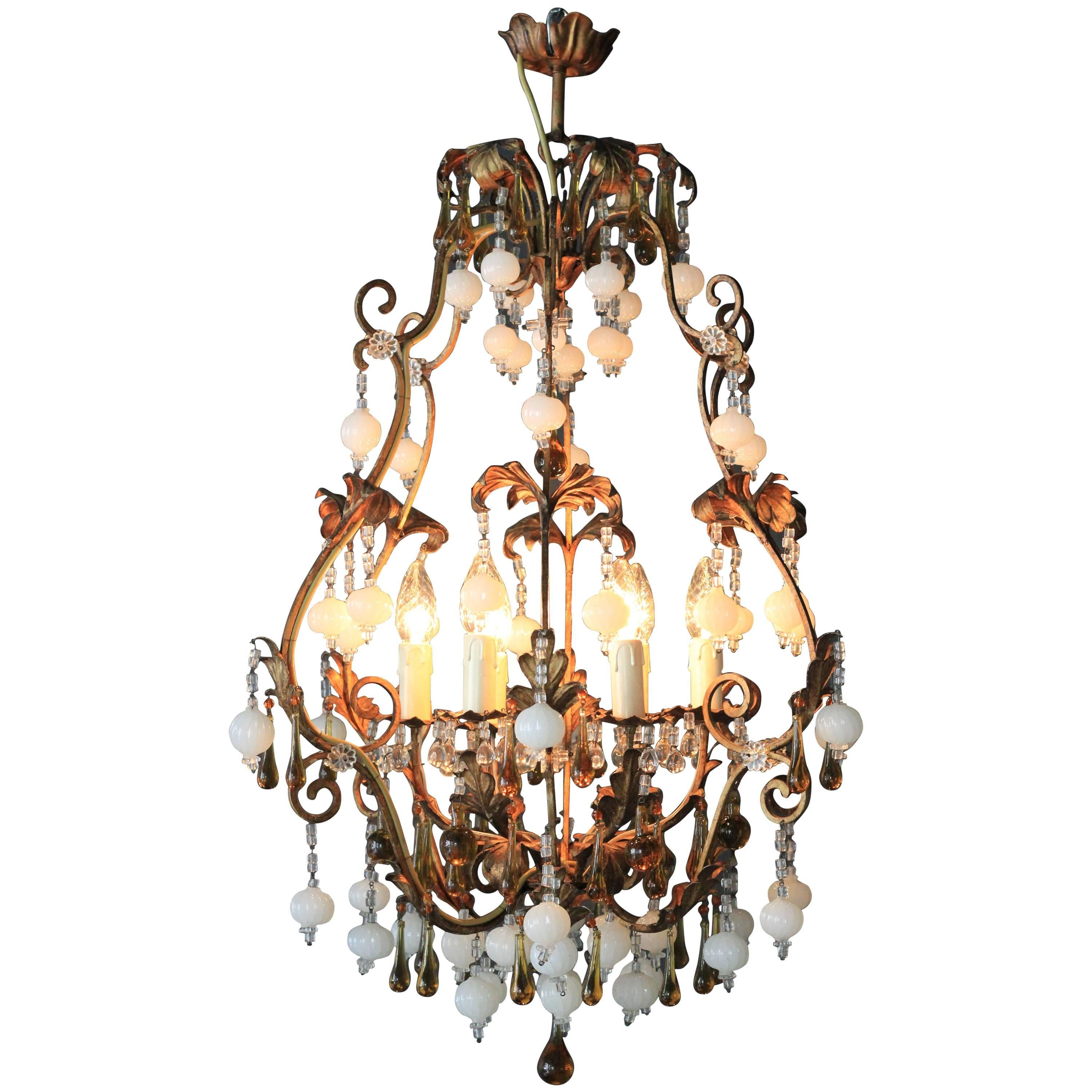 Lustre Cage Special Murano Crystal Chandelier White And Brown Colorful Amber Lustré Cage