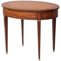 Kittinger Oval Side Table with Hidden Drawer and Marquetry ...