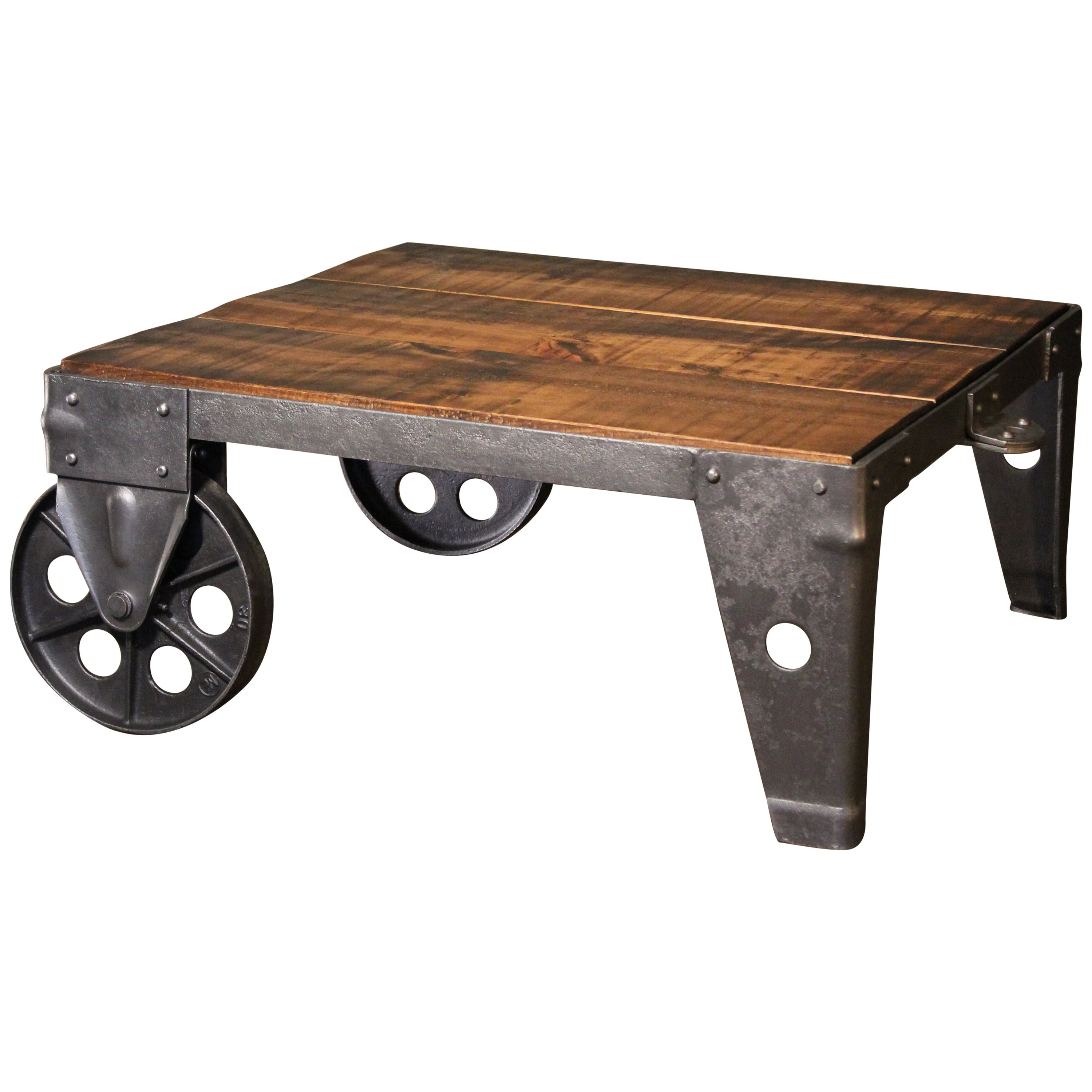 Iron Shop Authentic Vintage Industrial Cart Coffee Table Factory Shop Wood Steel And Iron