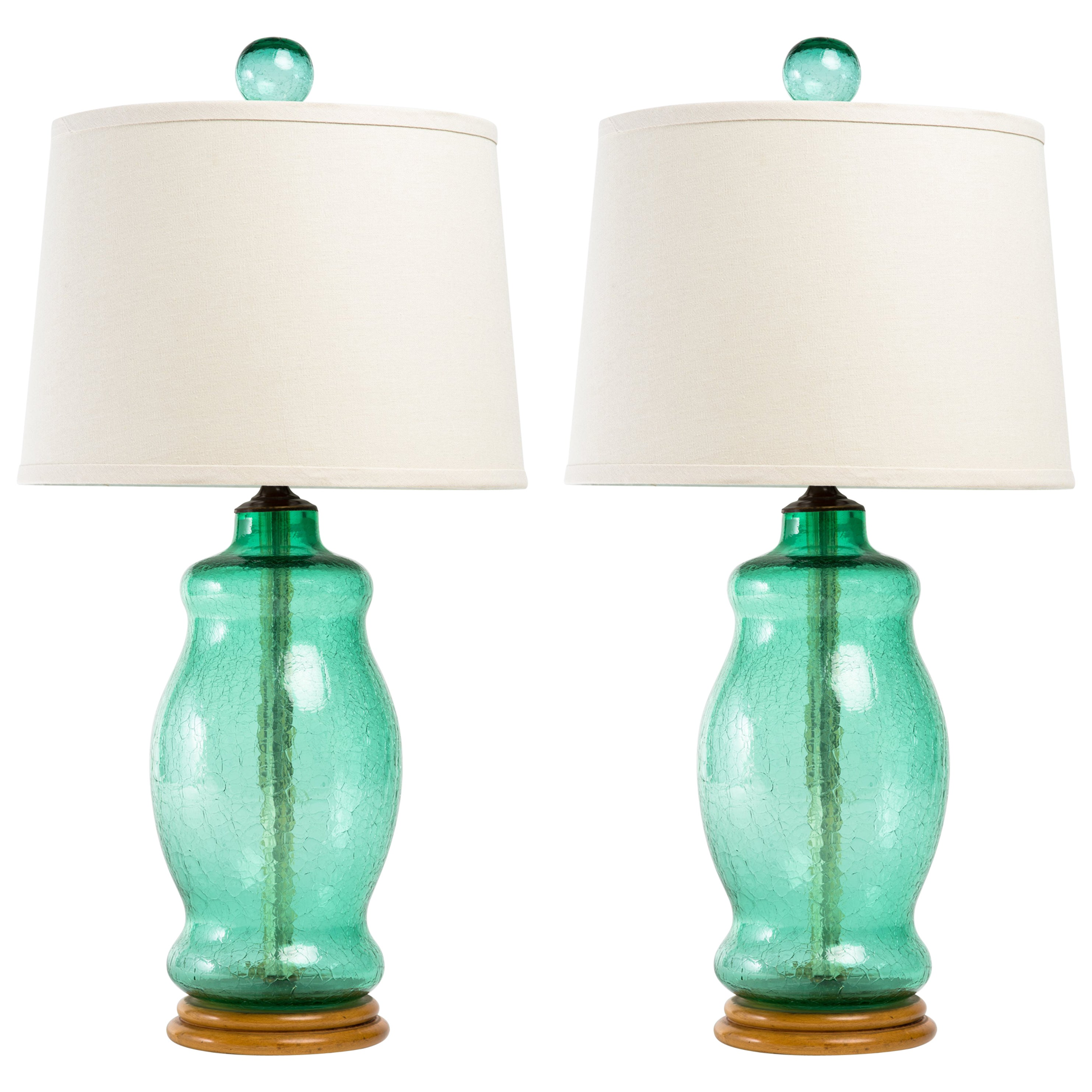 Glass Crackle Lamp Pair Of Blenko 1950s Green Crackle Glass Lamps