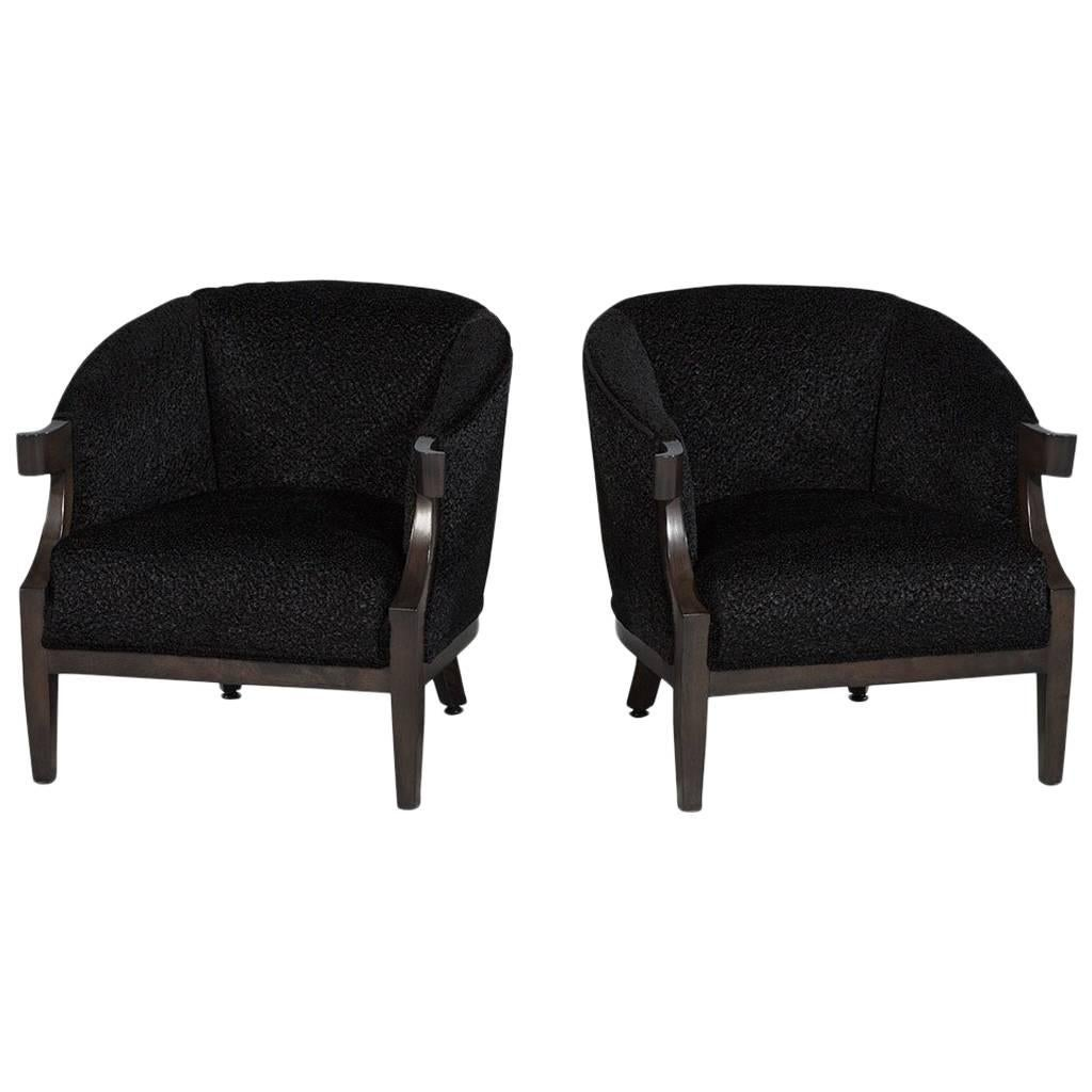 Tub Chairs Pair Of Black Luxurious Mid Century Tub Chairs