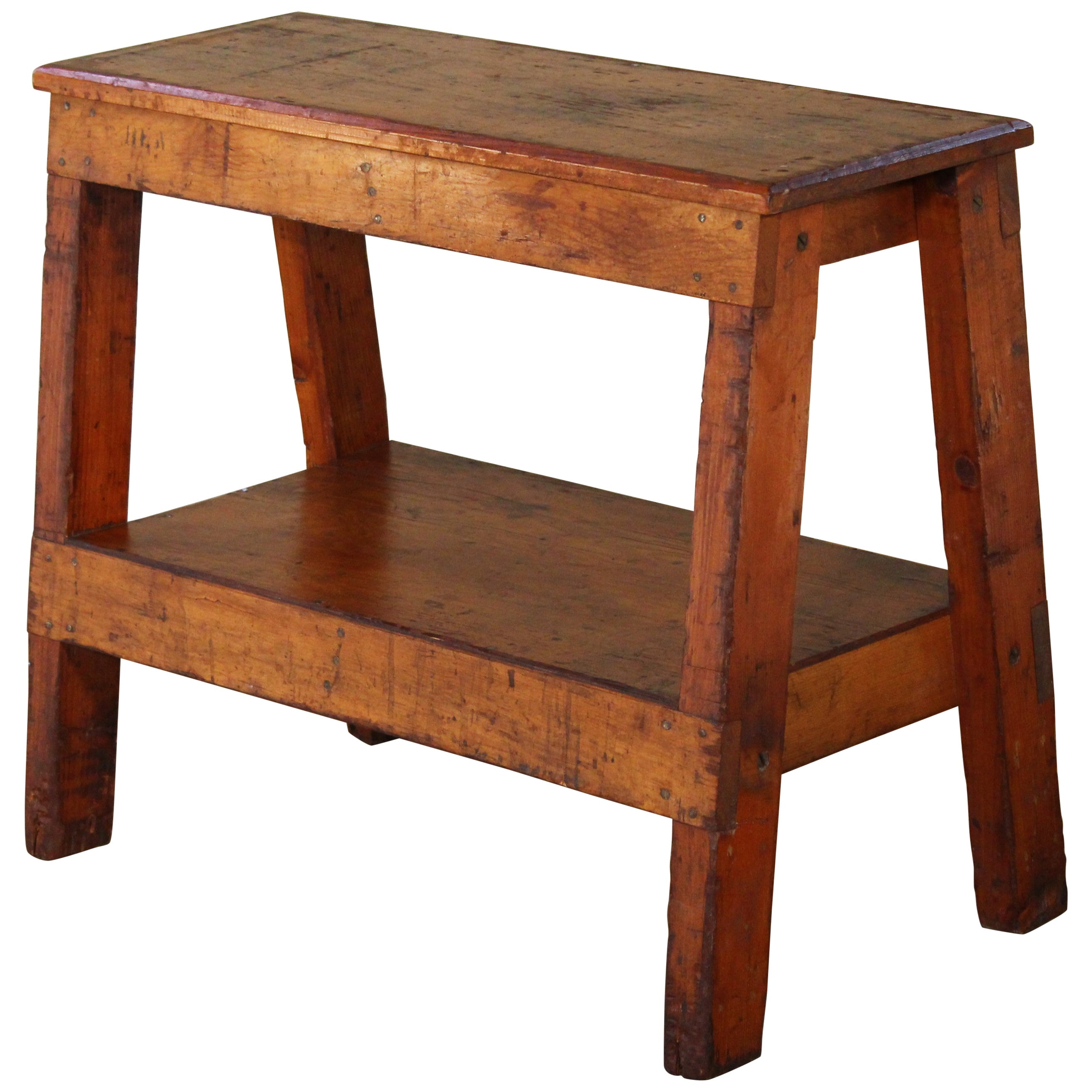Wooden Bench Table Wooden Bench Side Or End Table Factory Shop Two Tier Industrial