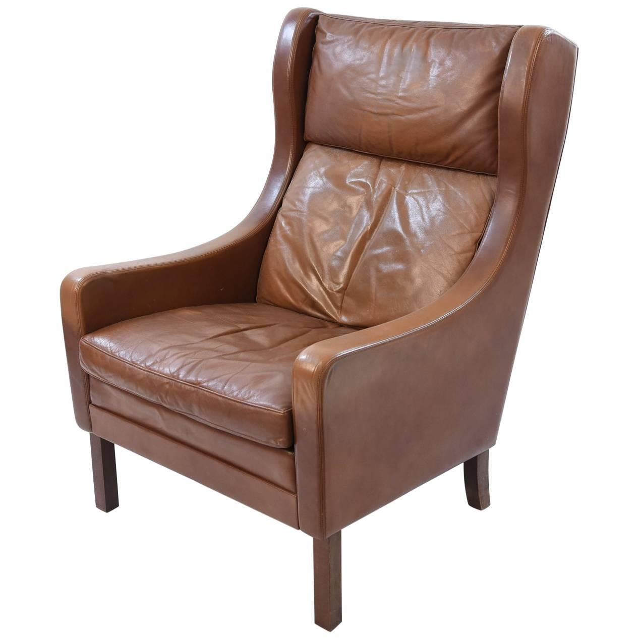 Brge Mogensen Danish 1960s Leather Wingback Lounge Chair