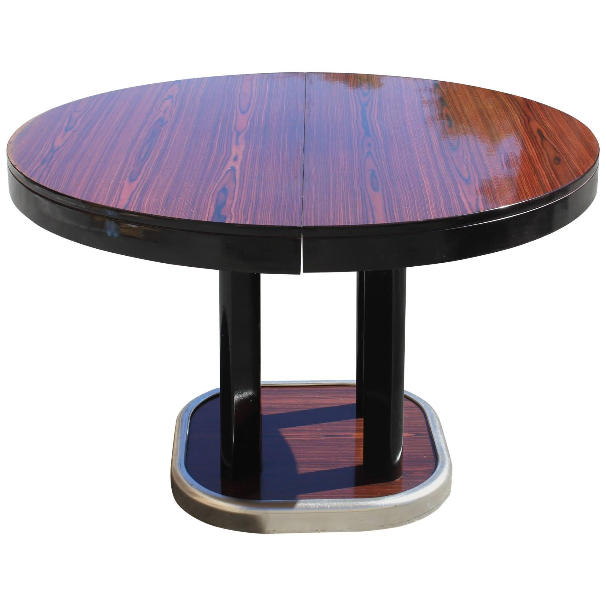Round Dining Table With Extensions French Art Deco Macassar Ebony Round Dining Table With Built In Extension Leaf