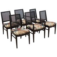 Set of Six Midcentury Dining Chairs with Cane Back For ...