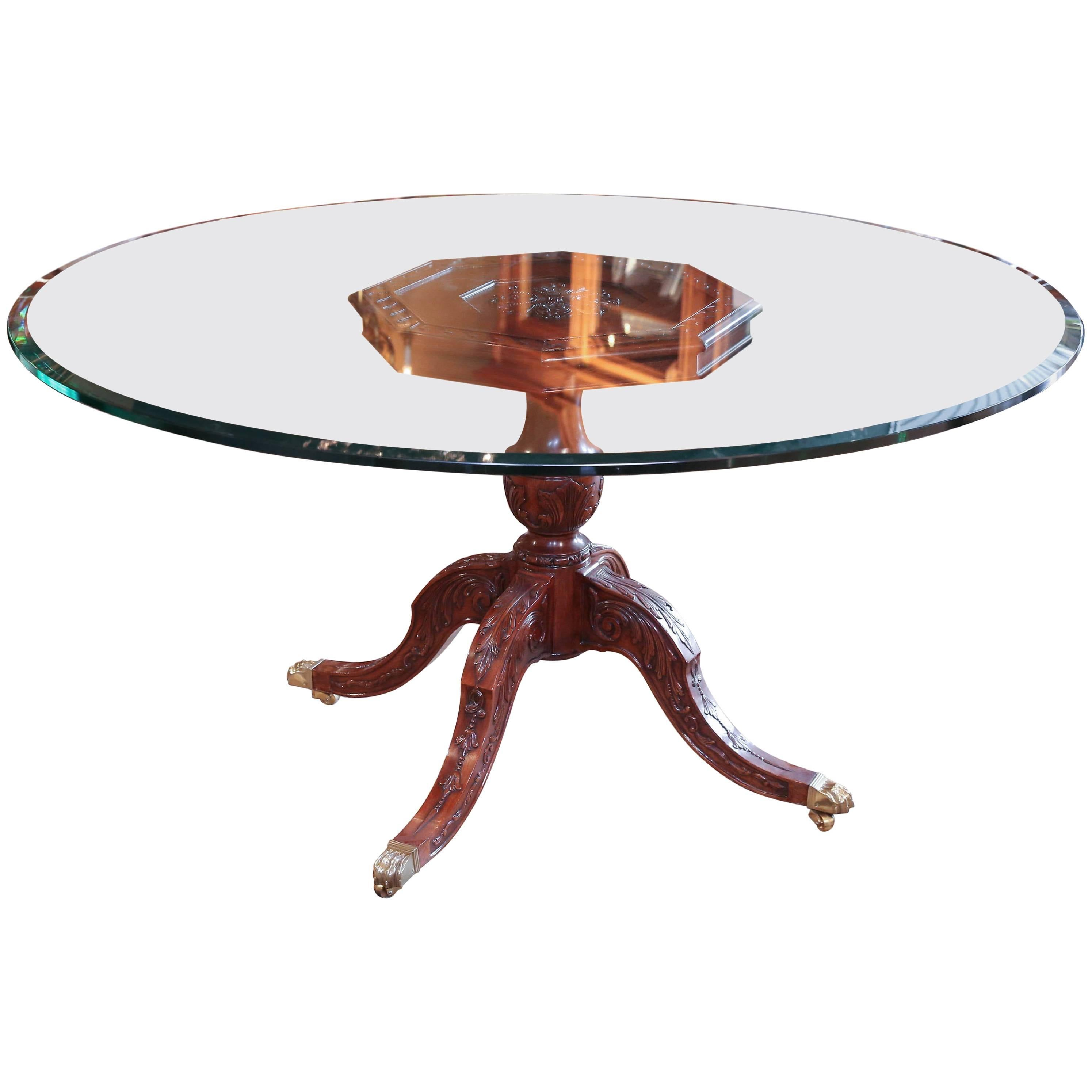 Round Glass Top Dining Table Round Glass Top Dining Table With Mahogany Pedestal Carved Base