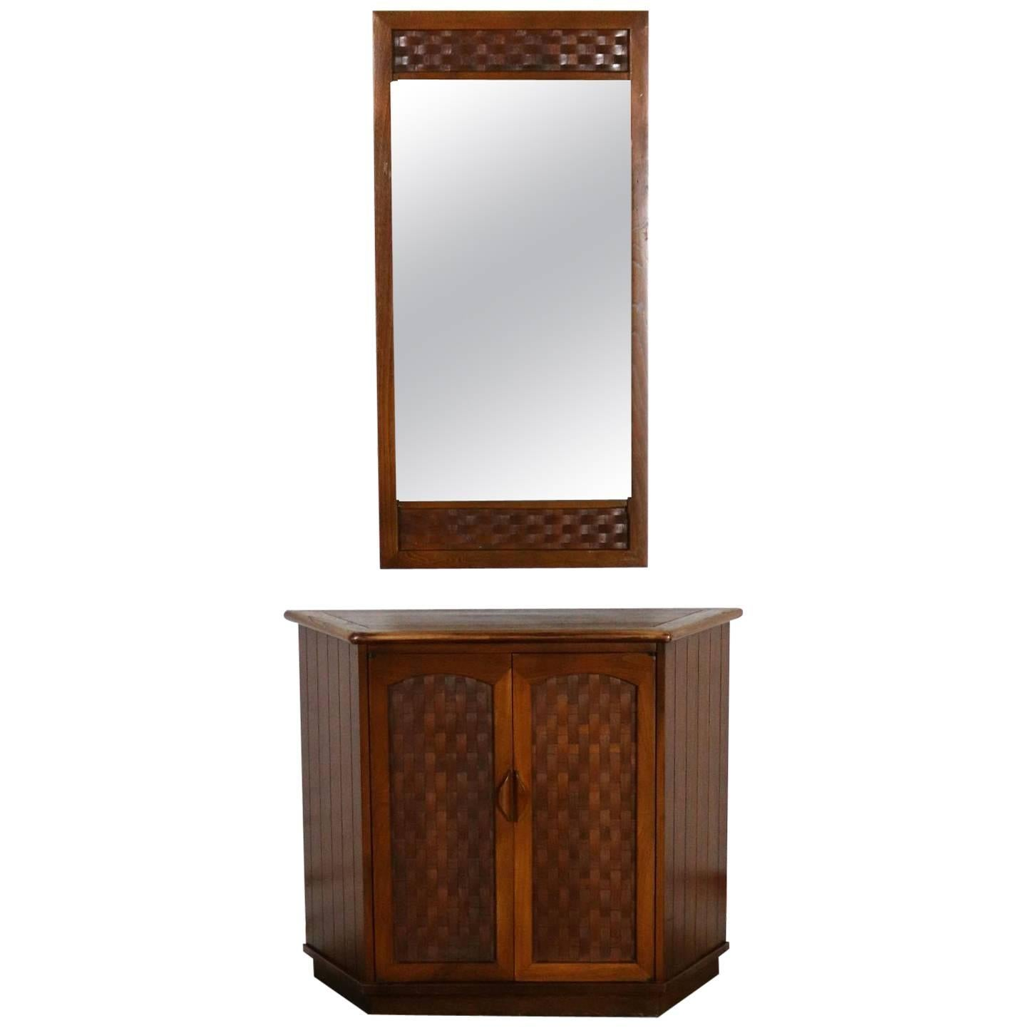 Mirror Inc Topeka Ks Console Cabinet And Mirror Basket Weave Style Lane Perception By Warren Church