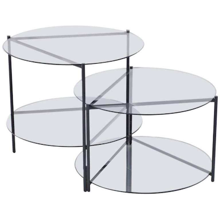 Coffee And Side Tables Moroso Byobu Coffee Or Side Table In Glass And Powder Coated Tubular Steel