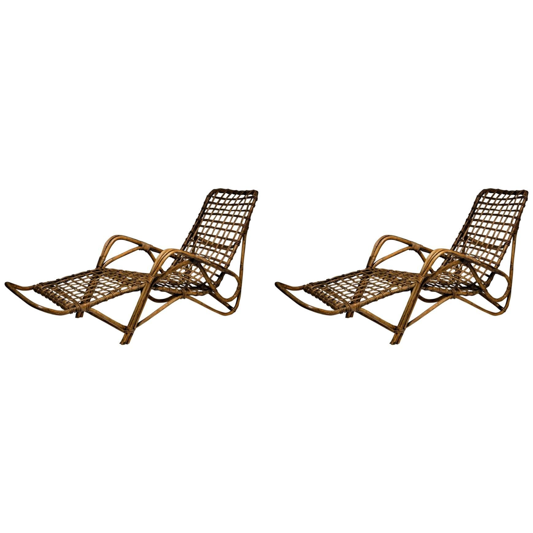 Chaises Longues Pair Of Italian 1960s Wicher Chaise Longues