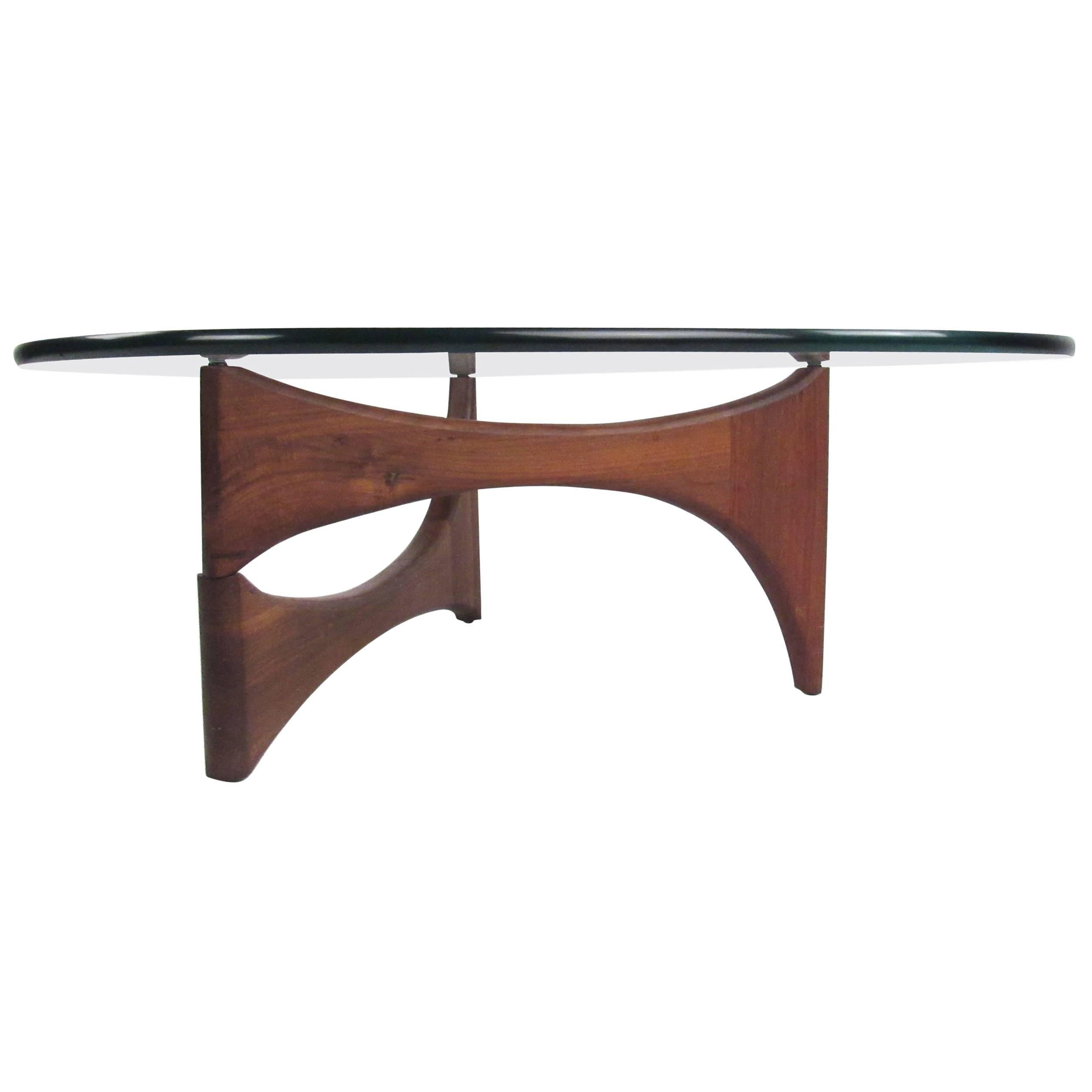 Noguchi Table Noguchi Style Triangular Glass Top Coffee Table