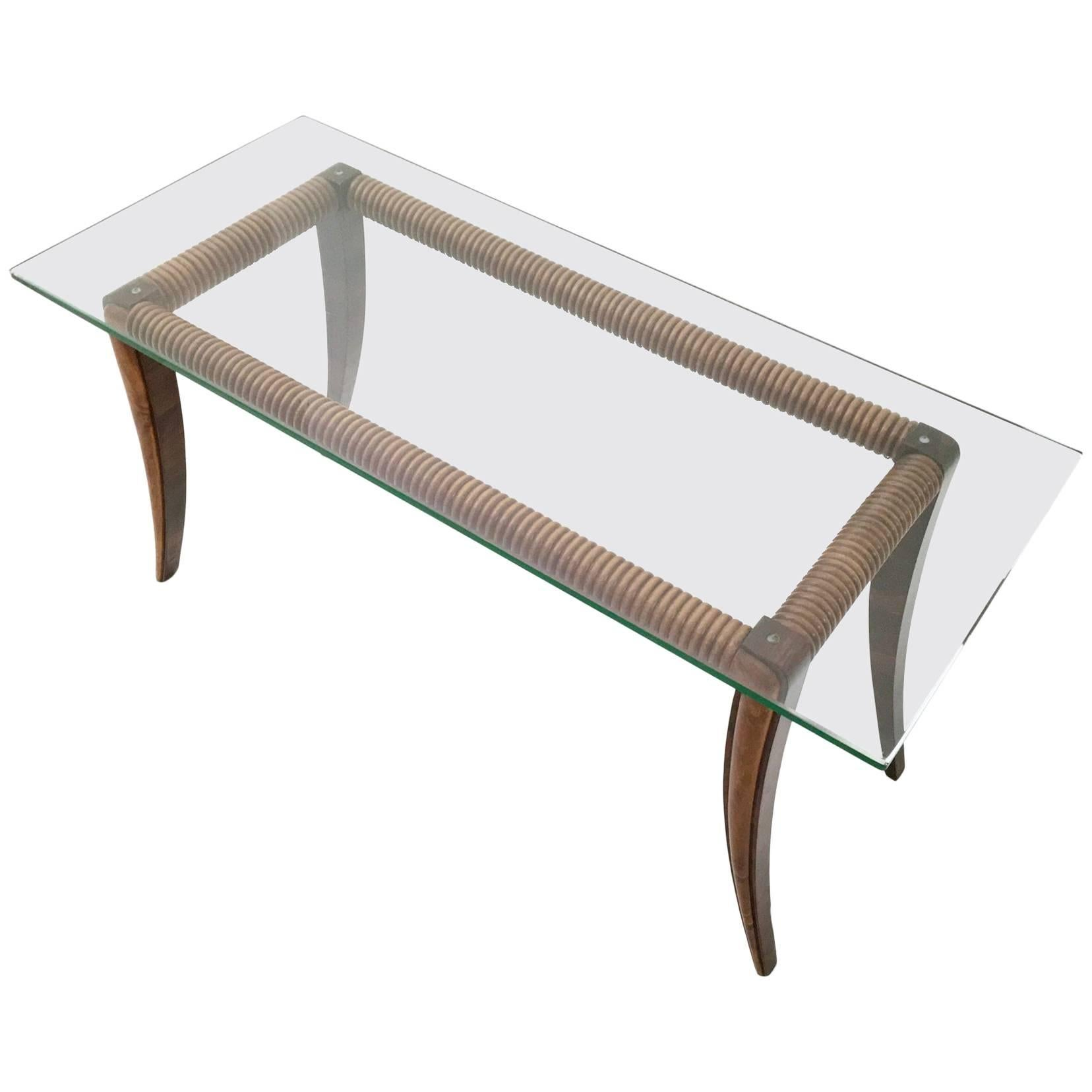 Beautiful Coffee Table Rectangular Maple And Wood Coffee Table With A Thick Glass Top Italy 1940s