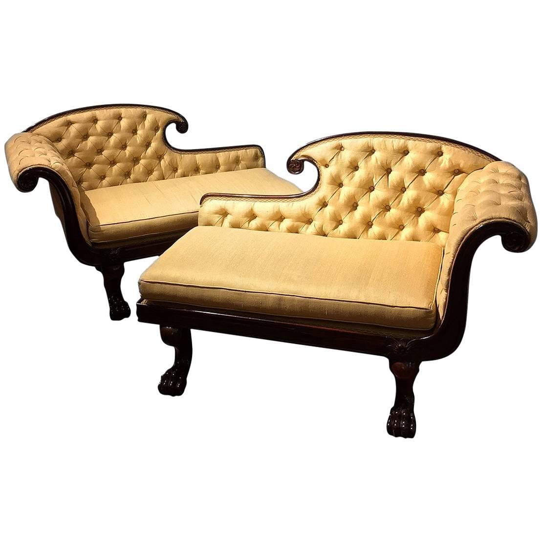 Chaise Style Pair Of Diminutive Chaise Lounges In The Méridienne Or