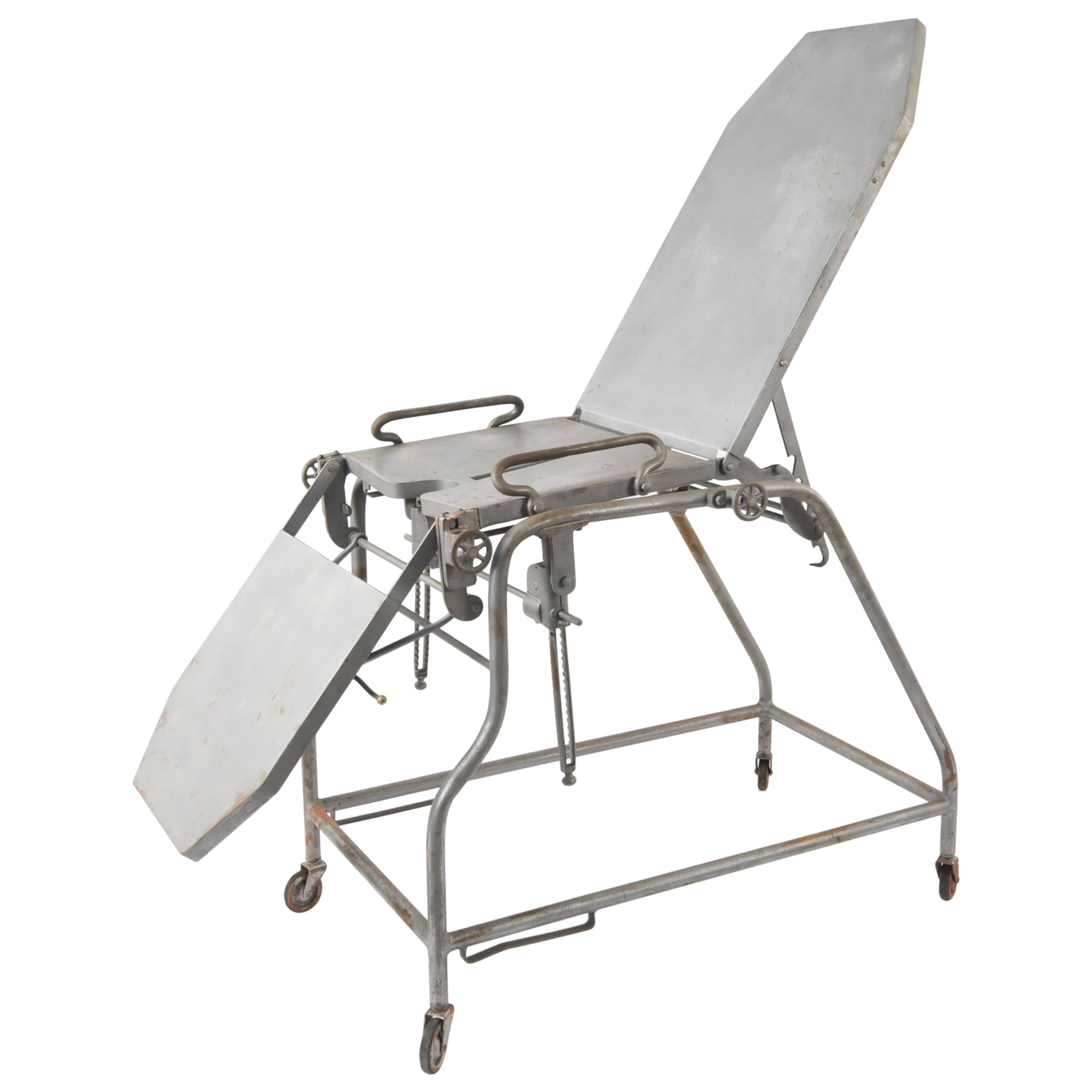Antique Iron Medical Exam Or Operation Chair For Sale At