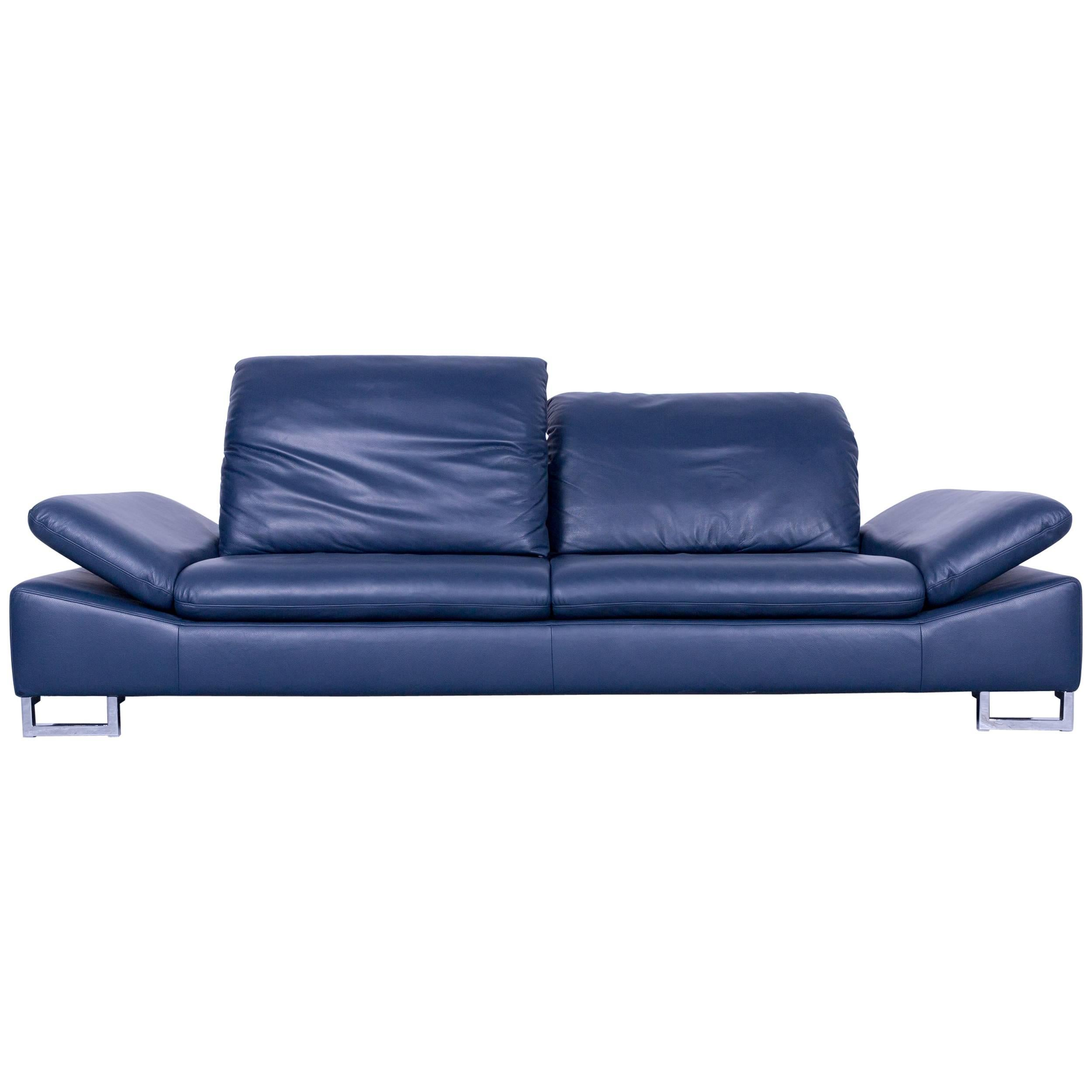 Designer Couch Willi Schillig Designer Sofa Three Seat Blue Leather Minimalistic Function Couch