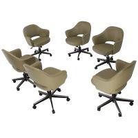 Olive Leather Knoll Saarinen Six Executive Bucket Chairs ...