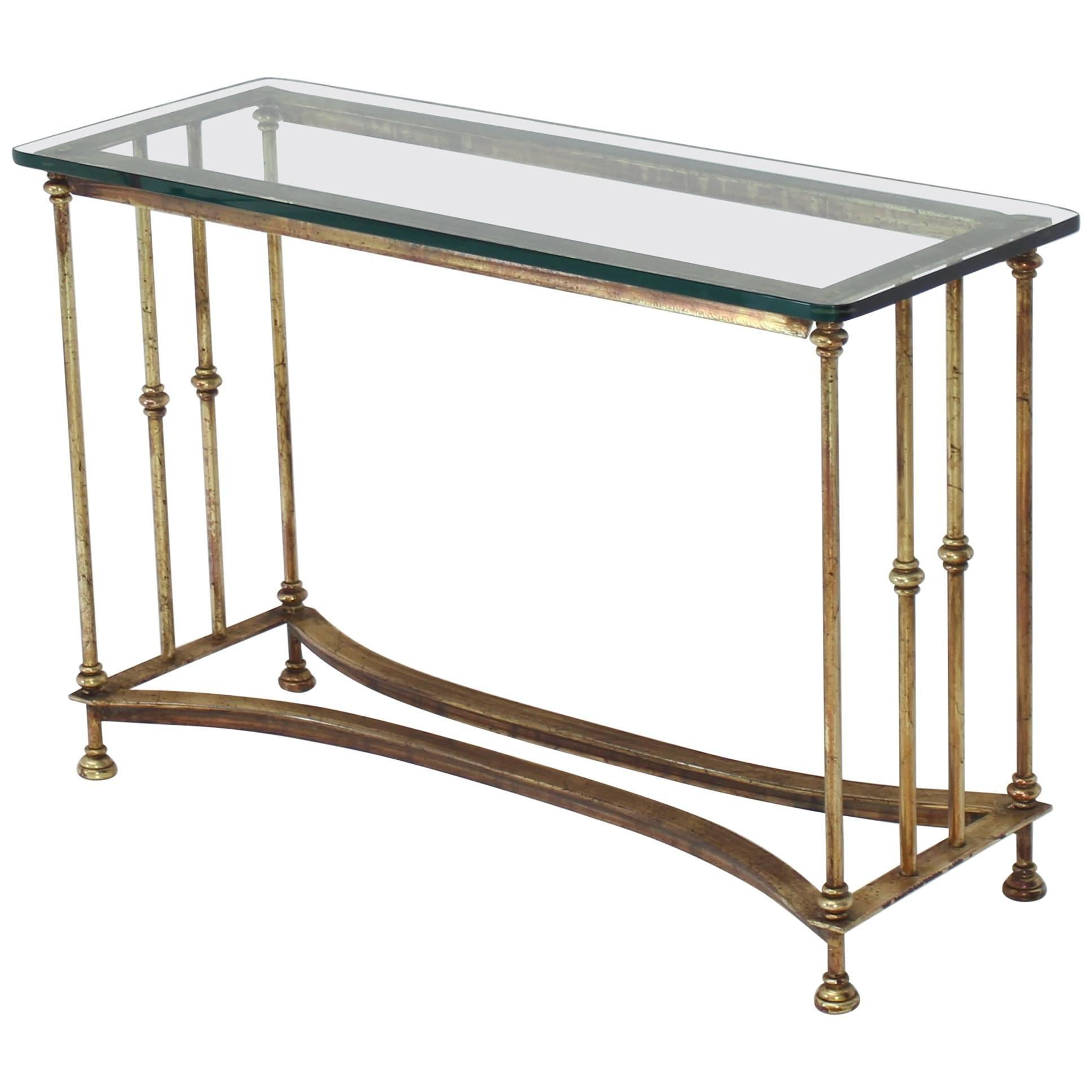 Glass Top Console Table Gold Gild Iron Base Glass Top Console Table