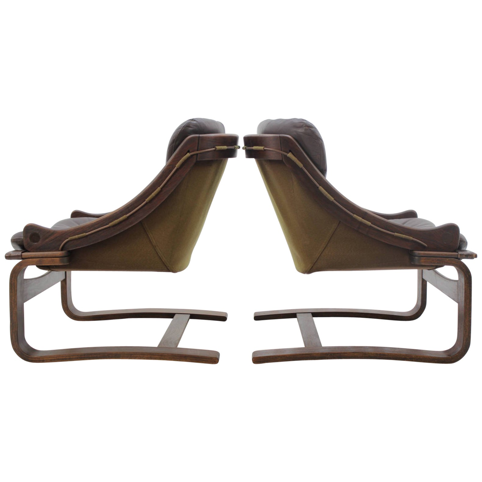 Scandinavian Möbel 1970s Scandinavian Bentwood Leather Lounge Chair By Ake Fribytter For Nelo Mobel