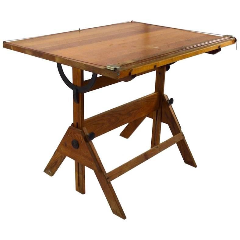 Adjustable Height Drafting Table Oak Drafting Table With Adjustable Top