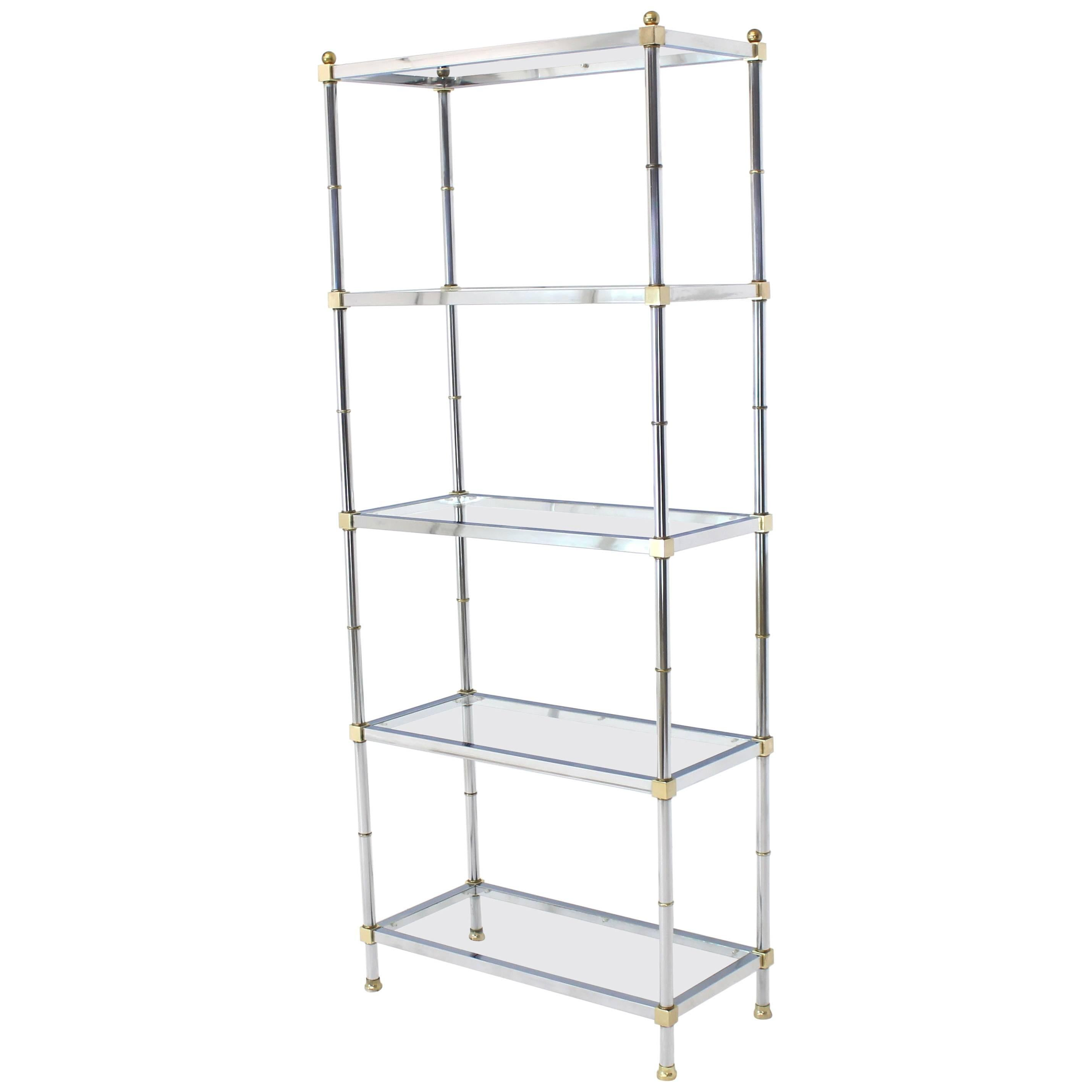 Etagere Metal Brass Chrome Glass Tall Etagere