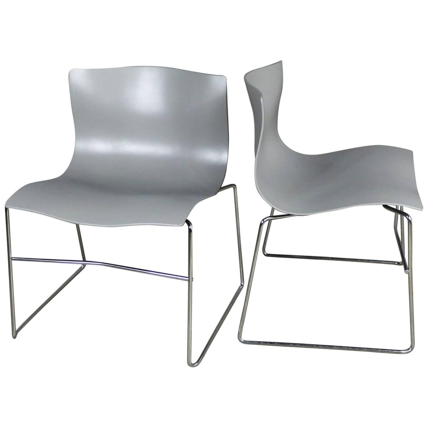 Sedia Diamond Knoll Knoll Handkerchief Side Chairs In Gray By Massimo Lella Vignelli A Pair