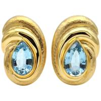 Blue Topaz Hammered Gold Clip-On Earring For Sale at 1stdibs